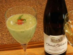 Chateau St. Michelle Gewurztraminer paired with Chilled Cucumber and Dill soup