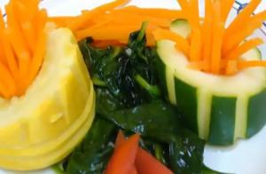 Stuffed Zucchini with Vegetable Garnishing