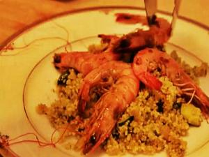 Feeling Ugly: Garlic Chilli Prawns & Pesto Couscous