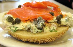 Cheese And Salmon Bagel