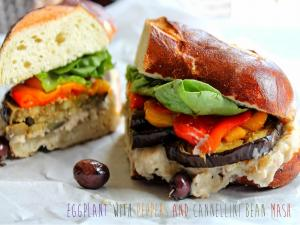 Eggplant With Peppers And Cannellini Bean Mash Sandwich Stevescooking