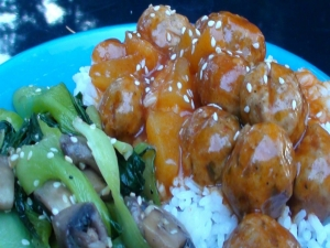 Sweet and Sour Meatballs with Bok Choy and Mushrooms