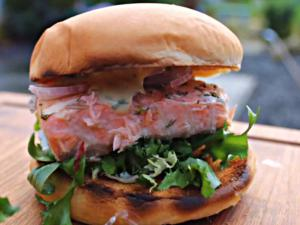 Cedar Planked Salmon Burger