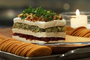 Layered Sun Dried Tomato And Artichoke Spread