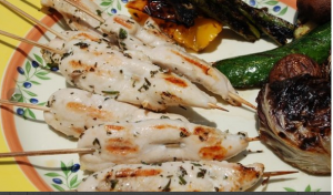 Grilled Veggies and Chicken Kebab