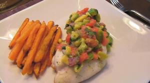 Elba's Amazing Taste Red Snapper with Avocado and Tomato Salsa