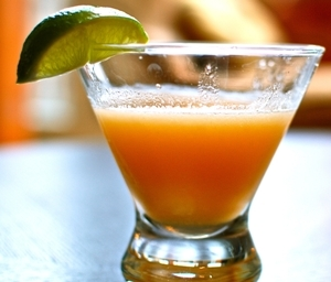 Cool and delicate cantaloupe martini.