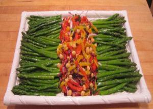 Chilled Asparagus with Marinated Roasted Pepper Topping