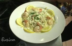 Fettuccini with Crab and Prawns in a Dill Cream Sauce