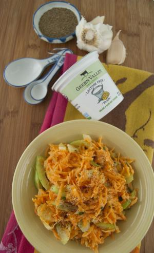 Carrot and Celery Slaw with Yogurt Dressing