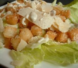 Homemade croutons over a salad