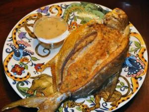 Stuffed Pompano with Crab and Clam Cake Dressing