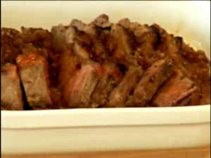 Roasted Beef Tenderloin with Red Wine Onion Sauce