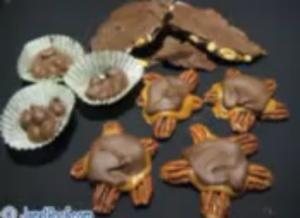 Halloween Chocolate candies - Caramel and Pecan Chocolate Turtles, Chocolate Nut Cluster and Nut Bark