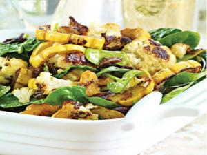 Roasted Cauliflower & Delicata Squash with Baby Spinach