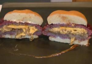 Cheese and Onion Stuffed Smoked Colossal Burgers