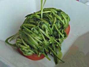 Zucchini Spaghetti with Basil Sauce