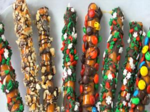 Caramel-Chocolate Pretzel Rods