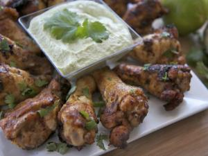 Chipotle Lime Chicken Drummettes with Avocado Sauce