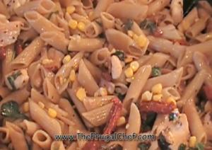 Whole Wheat Penne Pasta with Chicken, Sun dried Tomatoes and Basil