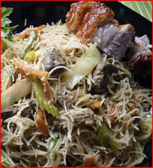 Pancit Bihon - Filipino Stir Fried Chicken and Vegetables with Rice Noodles