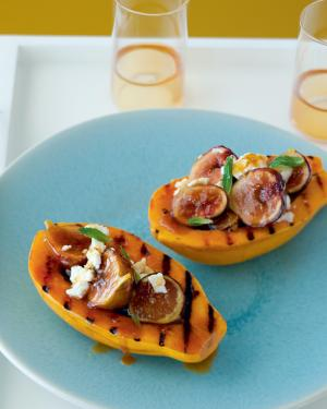 CARAMELIZED VANILLA FIGS with GOAT CHEESE and GRILLED PAPAYAS