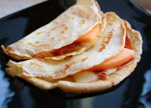 Crepes With Prosciutto Ham, Cantaloupe And Brie