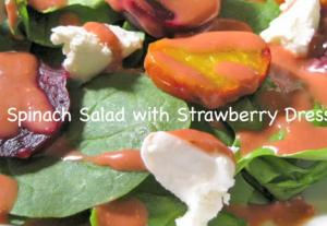 Spinach Summer Salad with Strawberry Dressing