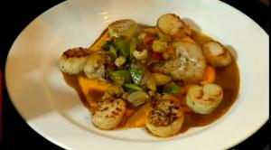 Monkfish with Sea Scallops and Sauted Veggies