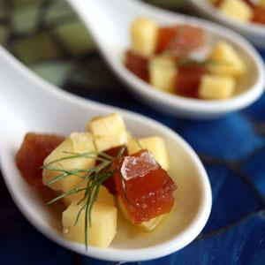 Mahon con Membrillo - this spicy tapa is a great and easy wine and cheese party menu idea.