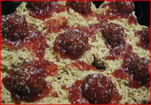 April Fools Spaghetti and Meatballs Cupcakes