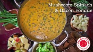 Making Bacon Cheese with Mushroom and Spinach