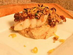Seared Halibut on Celeriac Parsnip Puree