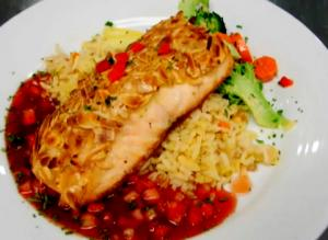 Almond Crusted Salmon With Strawberry Sauce