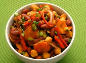How to Make a Bean & Chick Pea Salad with Soy Ginger Vinaigrette