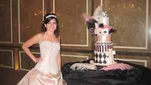 Sweet 16 party with Mardi Gras cake