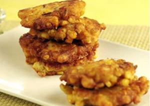 Crispy Corn Fritters With Bacon And Goat Cheese