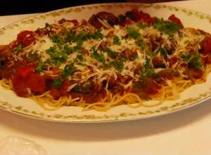 Creamy Spaghetti with Sausage, Peppers and Cheese