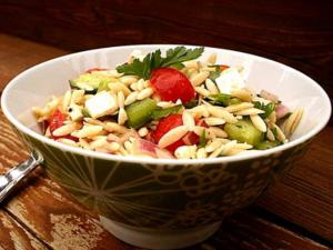 Orzo Salad with Tomatoes, Feta and Green Onions
