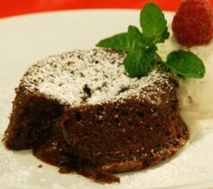 Chocolate Pudding Cake with Vanilla Ice Cream