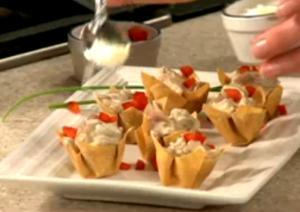 Mushroom and Prosciutto in Wonton Cups
