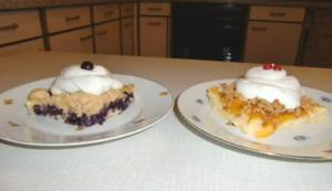 Easy to Bake Buttermilk Fruit cake, Blueberry and Peach with Crumble/Streusel