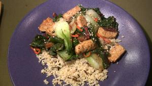 Millet-Rice with Stir Fried Tempeh and Vegetables