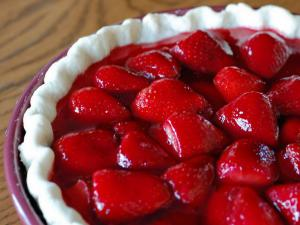 Open Fresh Strawberry Pie