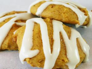 Old-Fashioned Soft Pumpkin Cookies w/Vanilla Glaze
