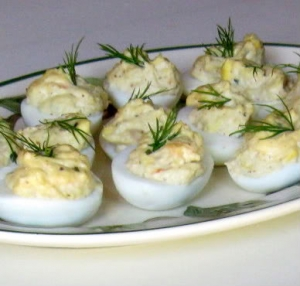 Shrimp stuffed eggs