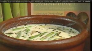 Creamy Mushroom Leek Soup with Organic Asparagus, Corn & New Potatoes
