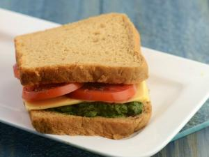Black Olive Pesto Sandwich (Omega-3 Fatty Acids Rich) by Tarla Dalal
