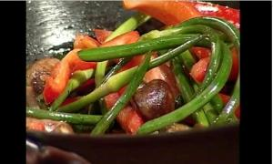 Garlic Scape Saute with Sweet Peppers & Crimini Mushrooms