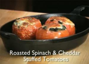 Tasty Oven-Roasted Spinach and Cheddar Tomatoes